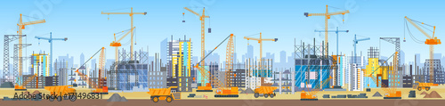 Wide head banner of city skyline construction process. Tower cranes on construction site. Buildings under construction.