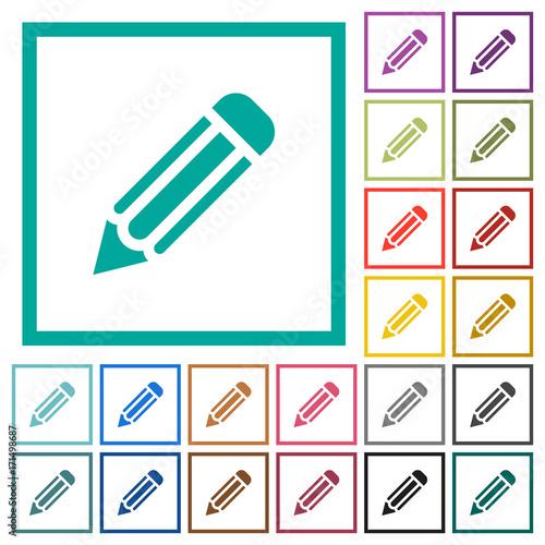 Single pencil flat color icons with quadrant frames Fototapet