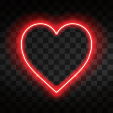 Bright Neon Heart. Heart Sign On Dark Transparent Background. Neon Glow Effect