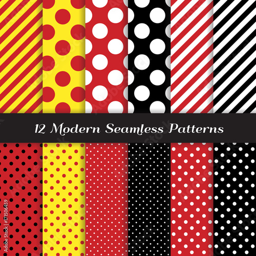 Photo  Polka Dots and Diagonal Stripes Seamless Vector Patterns in Red, Black, White and Yellow