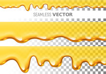 Set Of Two Transparent Vector Seamless Dripping Honey Pattern On Checkered Background