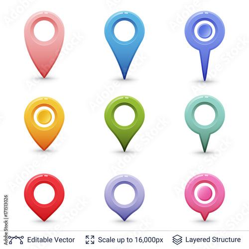 Fotografie, Obraz  Location pins set.