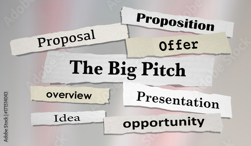 The Big Pitch Newspaper Headlines Proposal Offer 3d Illustration Canvas Print