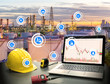 Smart refinery factory and wireless communication network, oil and gas industry petrochemical plant, Internet of Things concept of fast or instant shipping, Online goods orders worldwide, Business Lo