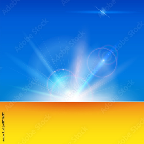 Blurred light rays and lens flare backdrop with copy space