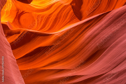 Spoed Foto op Canvas Baksteen Beautiful abstract red sandstone formations in the Antelope Canyon, Arizona