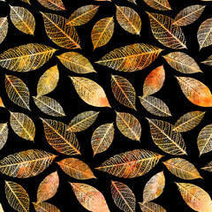 FototapetaSeamless background pattern of golden tinted watercolor leaves