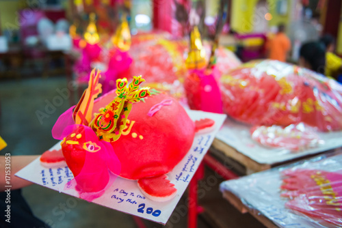 Red turtle cake are used offerings to offer ancestors in Por Tor Festival of Phuket