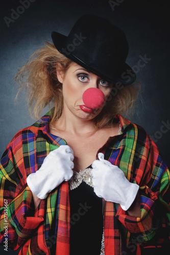 Cuadros en Lienzo femme clown triste
