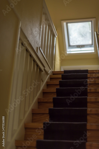 Oak Stairs In Old Farm House With Carpet Runner And Skylight