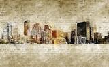 Fototapeta Młodzieżowe - skyline of denver in modern and abstract vintage look