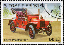 Postage Stamp Printed In S.Tome E Principe Shows Image Of The Retro Car Rover Phaeton 1907 Year Of Release