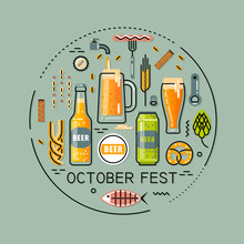 Vector Flat Line Round Illustration For Beer Festival On Turquoise Background. Bottles And Glasses Of Beer, Accessories And Snacks.