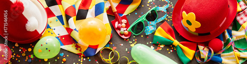Deurstickers Carnaval Colorful carnival banner with party accessories