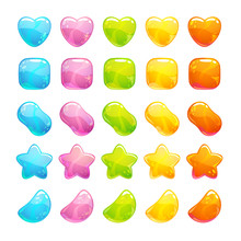 Cute Glossy Jelly Candies Set.