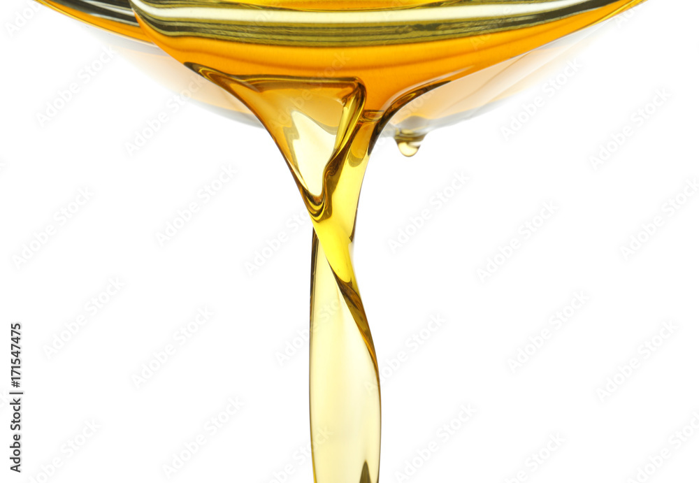 Fototapety, obrazy: Pouring cooking oil on white background, closeup