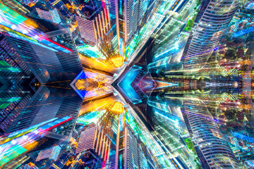 FototapetaCreative graphic sci fi abstract modern city background.