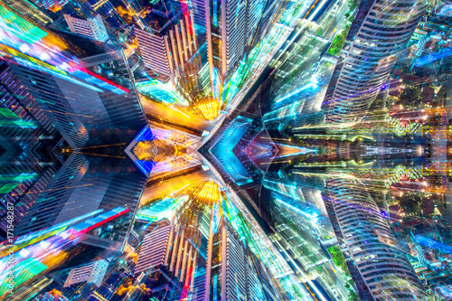 Creative graphic sci fi abstract modern city background. - 171548287