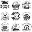 Car service logos vintage vector labels, badges and icons set