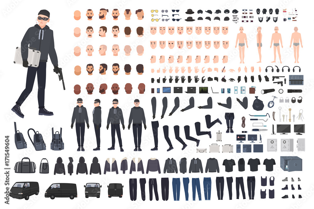 Fototapeta Thief, burglar or robber DIY kit. Collection of flat male cartoon character body parts in different positions, skin types, clothing and accessories isolated on white background. Vector illustration.