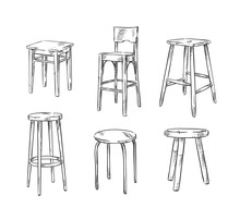 Set Of Hand Drawn Stools, Vect...