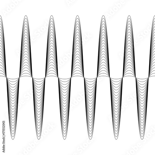 Photo Set of waves with augmented amplitude, the vector of increasing amplitude wave i