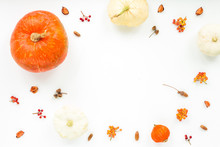 Autumn Frame Made Of Orange Pumpkin, Dried Autumn Leaves, Viburnum Berries On White Background. Flat Lay, Top View