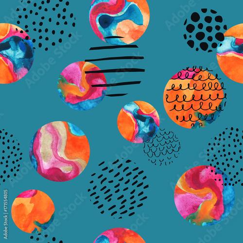 Photo sur Toile Empreintes Graphiques Watercolor circles simple seamless pattern