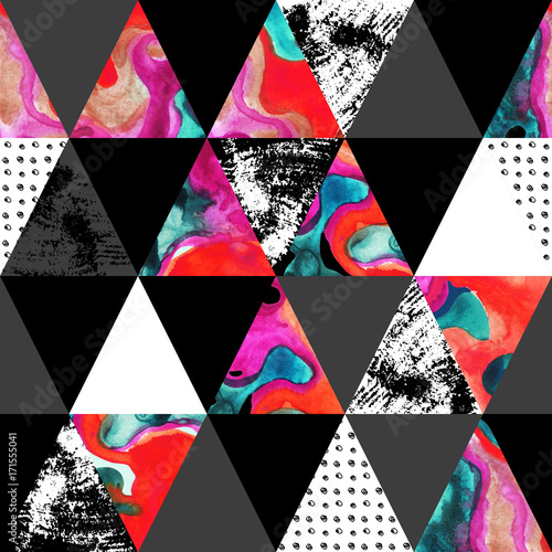 Photo sur Toile Empreintes Graphiques triangle seamless pattern with grunge and watercolor textures.