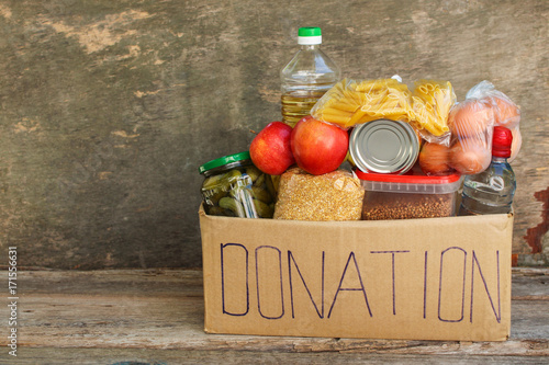 Fotografie, Obraz  Donation box with food.