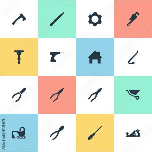 Vector Illustration Set Of Simple Architecture Icons
