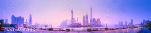 Türaufkleber Flieder Shanghai skyline cityscape