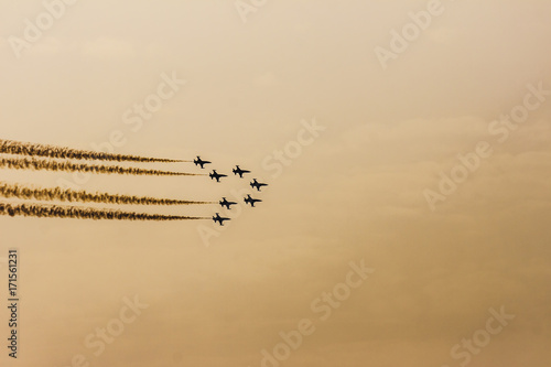 Turkish acrobatic aviation squadron flying over Izmir (Turkey) - 9th september a Wallpaper Mural