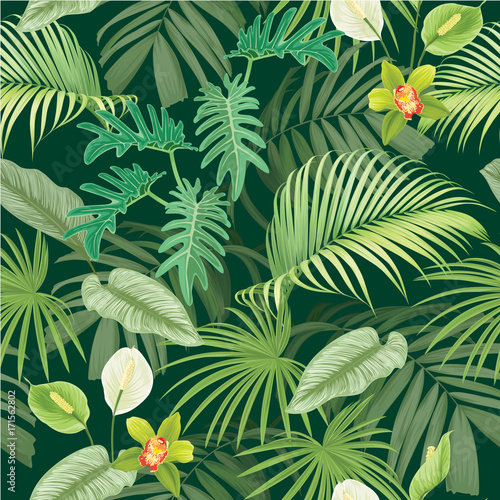 Spring Green Leaves And Flowers Background With Plants: Tropical Seamless Pattern With Leaves And Flowers On Dark