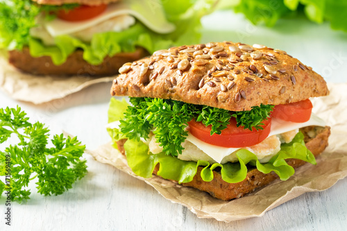 Homemade sandwich with chicken, fresh vegetables and herbs. Close-up.