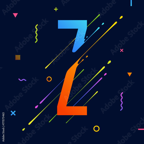 Modern abstract colorful alphabet with minimal design