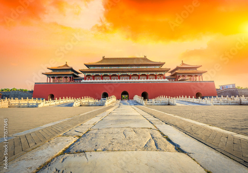 Fotografering ancient royal palaces of the Forbidden City in Beijing,China