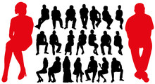 Silhouette Of Seated Men And W...