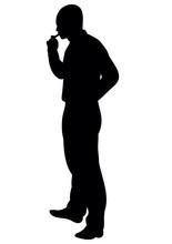 Silhouette Man Smokes