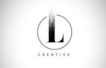 L Brush Stroke Letter Logo Design. Black Paint Logo Leters Icon.