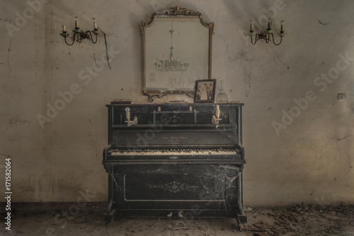Poster Retro Piano and Candles