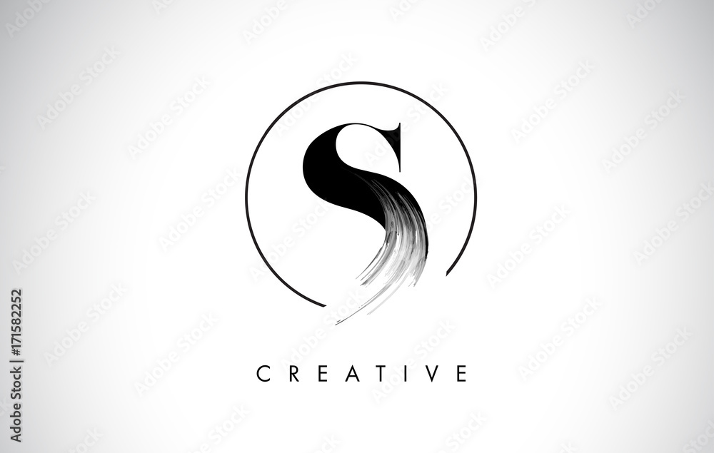 Fototapeta S Brush Stroke Letter Logo Design. Black Paint Logo Leters Icon.