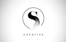 S Brush Stroke Letter Logo Des...
