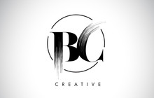 BC Brush Stroke Letter Logo Design. Black Paint Logo Leters Icon.