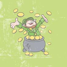 Cheerful Leprechaun Find Gold ...