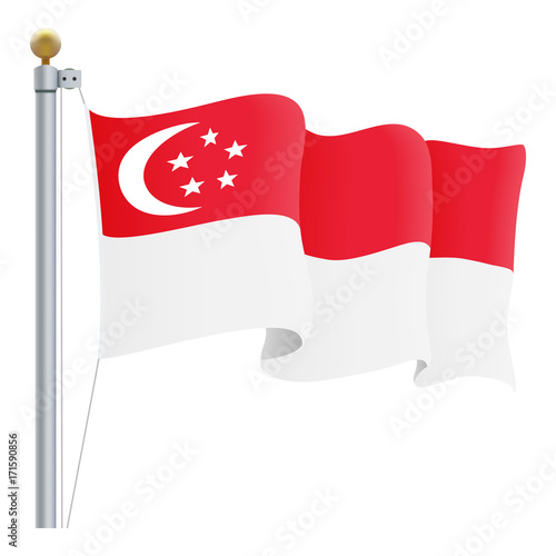 Photo  Waving Singapore Flag Isolated On A White Background