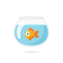 Cartoon Goldfish In Fishbowl V...