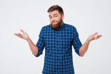 Confused Young Bearded Man Standing