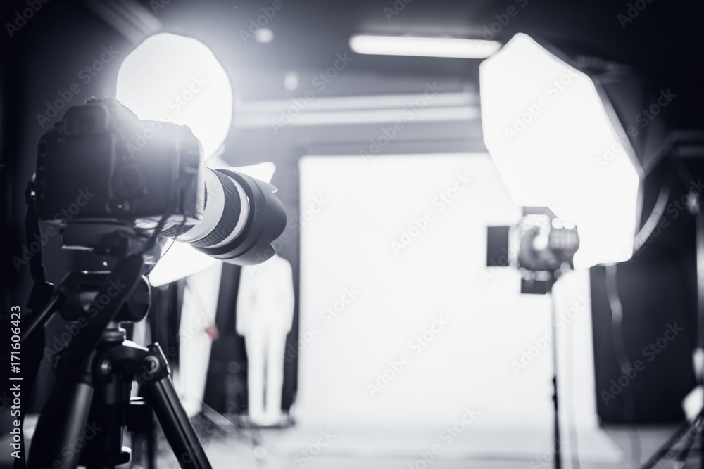 Fototapety, obrazy: Photo studio with professional lighting. Set up for a shoot