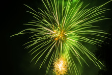 Celebration Fireworks Over Night Sky Copy Space. Celebration Colorful Fireworks. Beautiful Fireworks. Holidays Salute.  Independence Day. New Year. Green Firework. Amazing Fireworks, Fireworks 2017